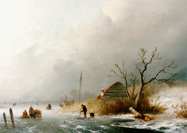 Johannes Franciscus Hoppenbrouwers | Skaters on a frozen waterway, oil on panel, 34.1 x 47.8 cm, signed l.l. and dated '52