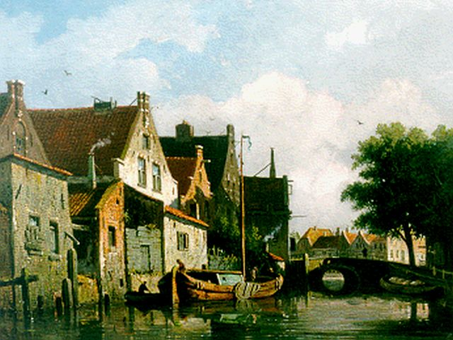 Adrianus Eversen | A canal scene, oil on panel, 25.0 x 33.2 cm, signed l.l.