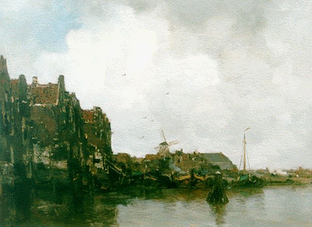 Jacob Maris | A harbour scene with moored boats, oil on canvas, 52.4 x 67.0 cm, signed l.l.