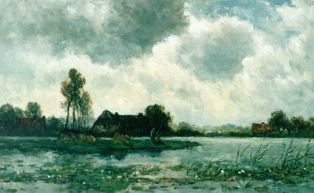 Willem Roelofs | Anglers in a polder landscape, oil on canvas, 47.5 x 74.5 cm, signed l.r.