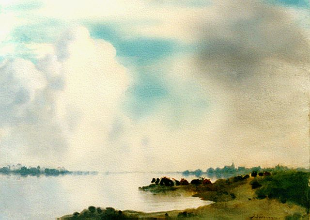 Jan Voerman sr. | A view of the river IJssel with Kampen in the distance, oil on panel, 42.4 x 52.0 cm, signed l.r.