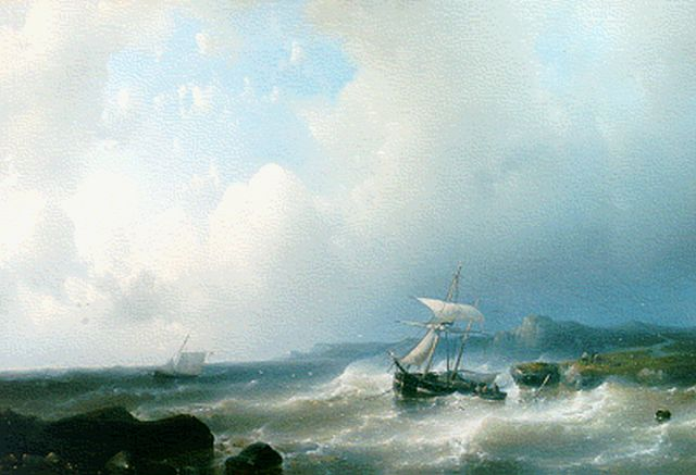 Abraham Hulk | A coastal landscape with an anchored boat, oil on canvas, 41.0 x 58.0 cm, signed l.l.