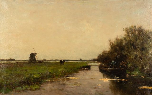 Victor Bauffe | A farmer in a barge in a polder landscape, oil on canvas, 63.2 x 100.3 cm, signed l.r.