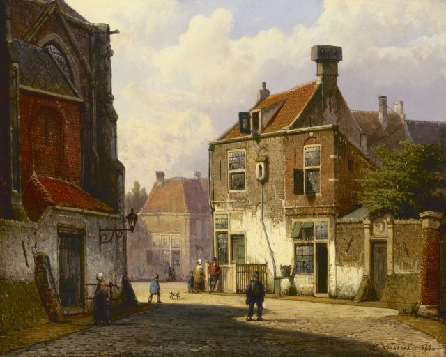 Willem Koekkoek | A sunlit Dutch street, oil on panel, 28.6 x 35.7 cm, signed l.r. and dated 1861
