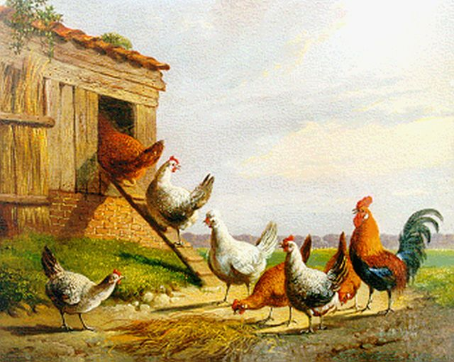 Albertus Verhoesen | Poultry in a landscape, oil on panel, 13.5 x 17.1 cm, signed l.r. and dated 1871