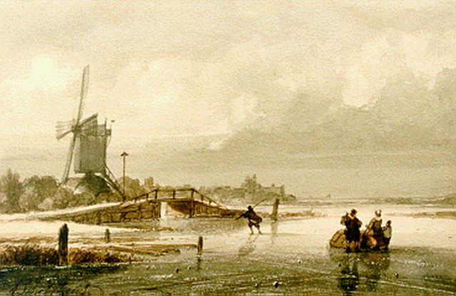 Andreas Schelfhout | Skaters on the ice, a windmill in the distance, mixed media on paper, 13.6 x 20.8 cm, signed l.l.