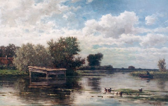 Roelofs W.  | View of the river Gein, oil on canvas, 45.9 x 72.2 cm, signed l.r.