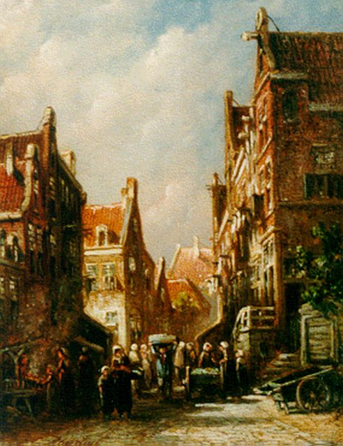 Petrus Gerardus Vertin | Daily activities in a Dutch town, oil on panel, 19.4 x 14.9 cm, signed l.l.