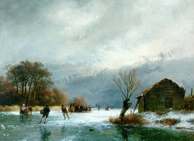 Andreas Schelfhout | A winter landscape with skaters, oil on panel, 21.8 x 29.0 cm, signed l.r. and dated '57
