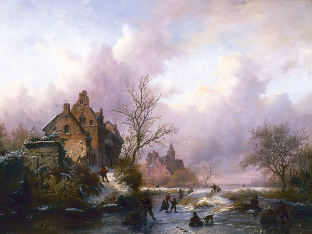 Frederik Marinus Kruseman | A winter landscape with skaters on the ice, oil on panel, 28.7 x 38.7 cm, signed l.l. and dated 1854