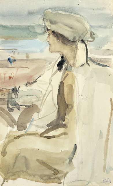 Isaac Israels | A portrait of Lola Cornero, Scheveningen, watercolour on paper, 47.2 x 30.0 cm, signed l.r. and painted circa 1919