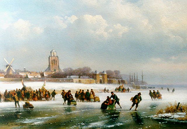 Lodewijk Johannes Kleijn | Winterfun, a town in the distance, oil on panel, 28.1 x 40.6 cm, signed l.l.
