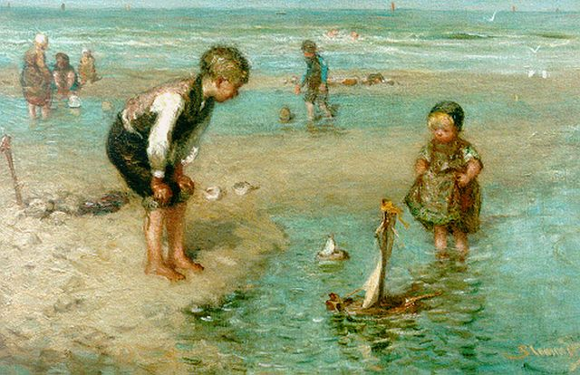 Bernard Blommers | Children playing in the surf, oil on canvas, 36.2 x 54.3 cm, signed l.r.