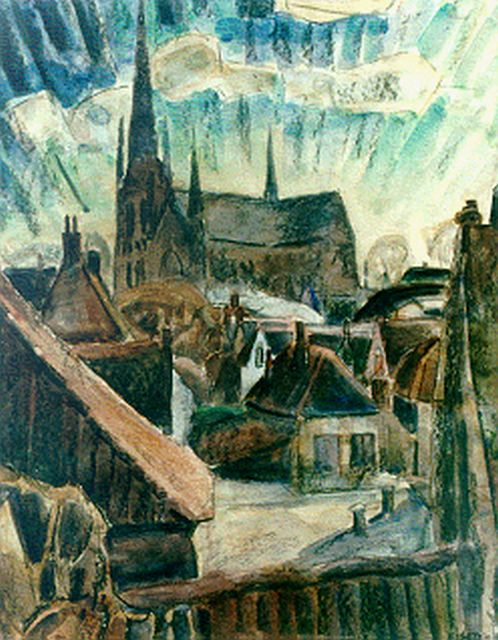Leo Gestel | A view of Woerden, mixed media on paper on wood, 62.7 x 49.3 cm, signed l.r. and dated '19