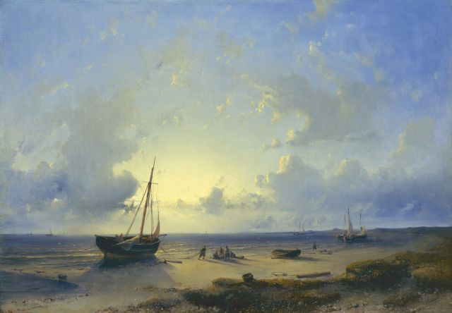 Abraham Hulk | A Dutch coastal scene at sunset, oil on canvas, 43.4 x 61.2 cm, signed l.r.
