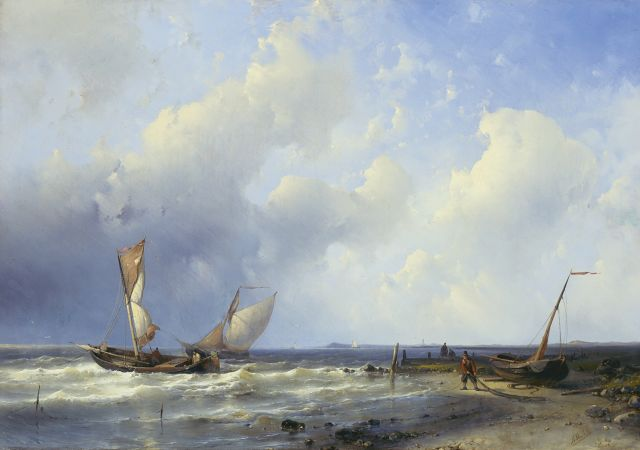 Abraham Hulk | A fresh breeze off the Dutch coast, oil on canvas, 43.4 x 62.4 cm, signed l.r.