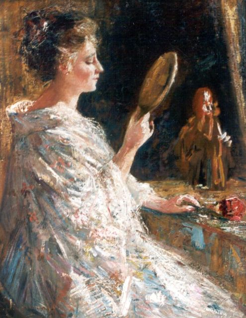 Simon Willem Maris | An elegant lady with a mirror, oil on canvas, 50.9 x 40.0 cm, signed l.l.