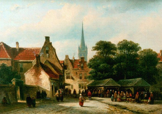 Petrus Gerardus Vertin | Townsfolk on a square, oil on panel, 19.9 x 27.9 cm, signed l.r.