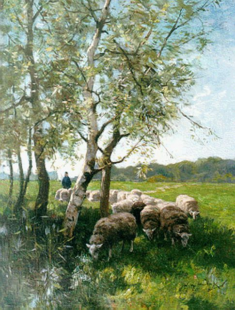 Willem Steelink jr. | A shepherd with his flock, oil on canvas, 41.3 x 31.6 cm, signed l.r.
