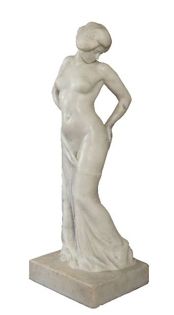 Eldh C.J.  | Standing nude, Statuario Venato marble 103.0 x 34.0 cm, signed on the front of the plinth