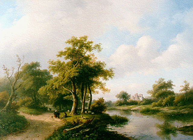Jan Jacob Spohler | A wooded landscape with a ruin, oil on canvas, 59.0 x 82.3 cm, signed l.l. and dated '57