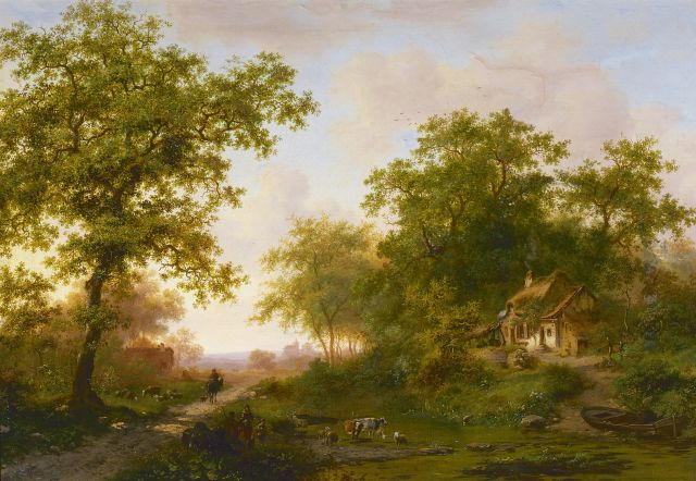 Frederik Marinus Kruseman | A wooded landscape in summer, oil on canvas, 45.0 x 64.7 cm, signed l.l. and dated 1873