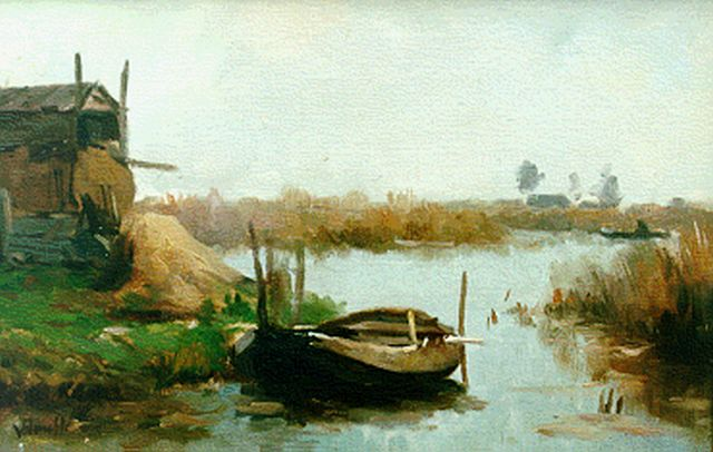 Victor Bauffe | A river landscape with a moored barge, oil on panel, 26.0 x 39.0 cm, signed l.l.