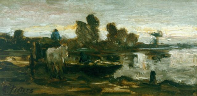 Evert Pieters | Horsedrawn cart in a landscape, oil on panel, 14.5 x 28.3 cm, signed l.l.