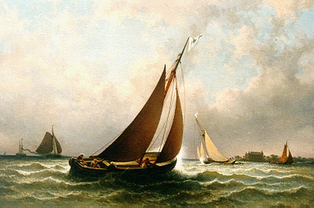 Johannes Hilverdink | Sailing race, the Muiderslot in the distance, oil on canvas, 65.0 x 95.0 cm, signed l.r. and dated 1882