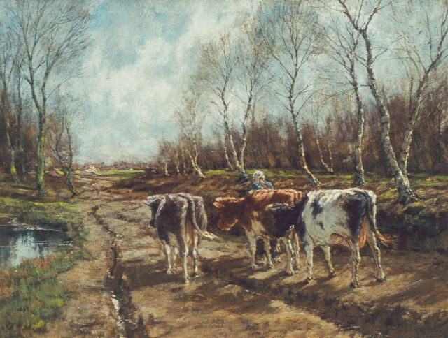 Arnold Marc Gorter | Cows in an autumn landscape, oil on canvas, 66.8 x 87.0 cm, signed l.r.