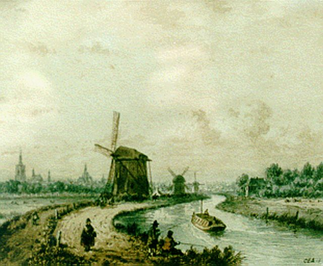Carl Eduard Ahrendts | A boat-canal, The Hague, watercolour on paper, 21.0 x 25.5 cm, signed l.r.