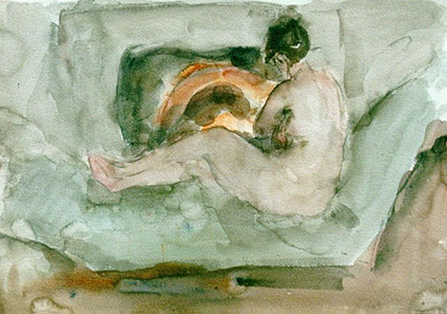 Israels I.L.  | A reclining nude in front of a fire-place, watercolour on paper, 35.4 x 50.6 cm, dated 1930