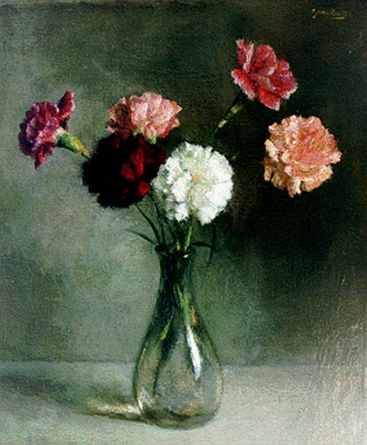 Georg Rueter | Carnations in a vase, oil on canvas, 45.0 x 38.1 cm, signed u.r.