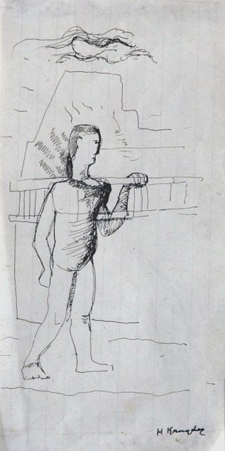 Herman Kruyder | A man carrying his ladder, pen and ink on paper, 19.4 x 9.7 cm, signed l.r.