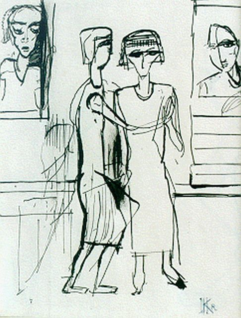 Herman Kruyder | Visiting a museum (recto): figures (verso), Indian ink on paper, 20.0 x 15.0 cm, signed l.r. with monogram