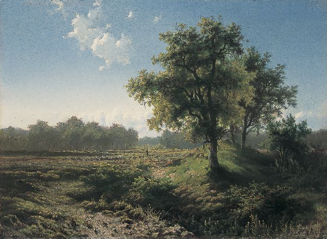Paul Joseph Constantin Gabriel | 'Veluws' landscape, oil on panel, 28.4 x 39.0 cm, signed l.r. and painted circa 1850