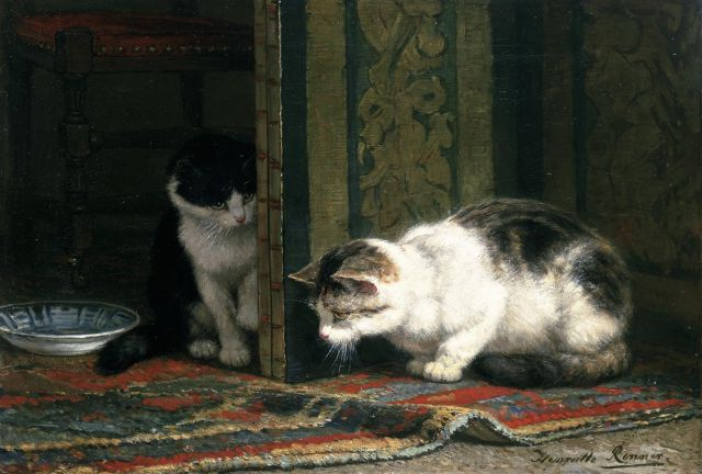 Henriette Ronner-Knip | Cats playing, oil on canvas, 37.3 x 55.2 cm, signed l.r.