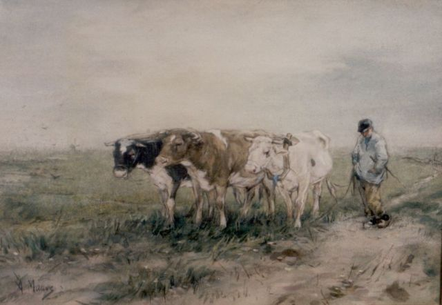 Anton Mauve | A farmer and oxes, watercolour on paper, 22.5 x 32.5 cm, signed l.l.