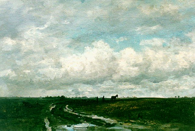 Hendrik Willem Mesdag | A polder landscape with a  ploughing farmer, oil on canvas, 49.2 x 78.4 cm, painted circa 1877