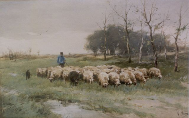 Anton Mauve | A shepherd with his flock, watercolour on paper, 31.5 x 50.0 cm, signed l.r.