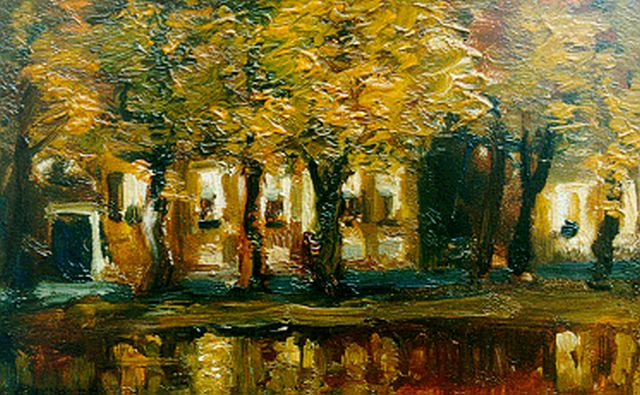Louis Albert Roessingh | Houses along a canal, Assen, oil on panel, 11.8 x 19.1 cm, signed l.l. and dated 1904