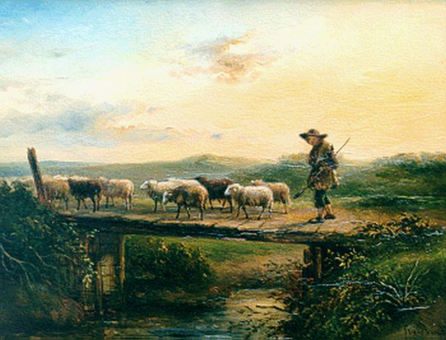 Simon van den Berg | A shepherd with his flock, oil on panel, 24.0 x 31.3 cm, signed l.r.