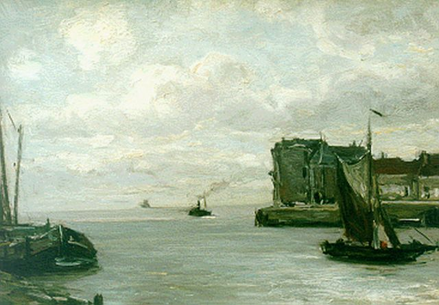 Louis Apol | The harbour of Veere, oil on canvas, 30.1 x 40.5 cm, signed l.l.