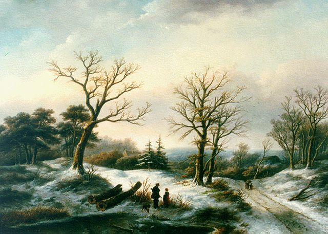Jan Jacob Spohler | A winter landscape with a traveller and a hunter, oil on canvas, 66.5 x 93.4 cm, signed l.l.
