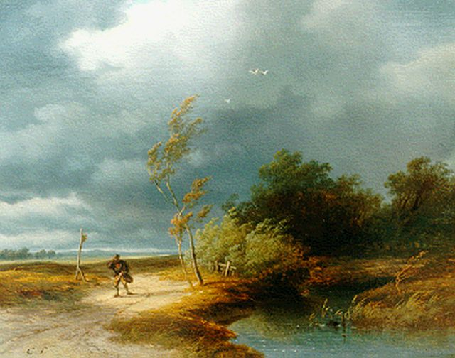 Cornelis Lieste | Upcoming storm, oil on panel, 26.2 x 33.3 cm, signed l.l. with initials