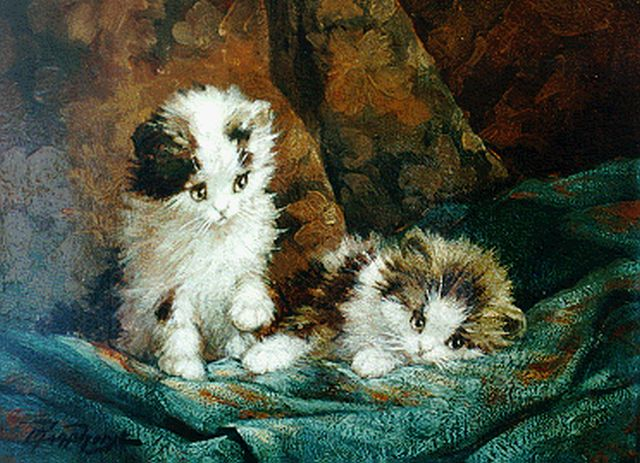 Cornelis Raaphorst | Two kittens, oil on canvas, 18.3 x 24.9 cm, signed l.l.