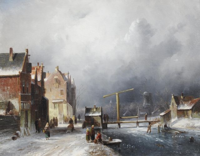 Charles Leickert | A Dutch town in winter, oil on canvas, 35.2 x 44.4 cm, signed l.r.
