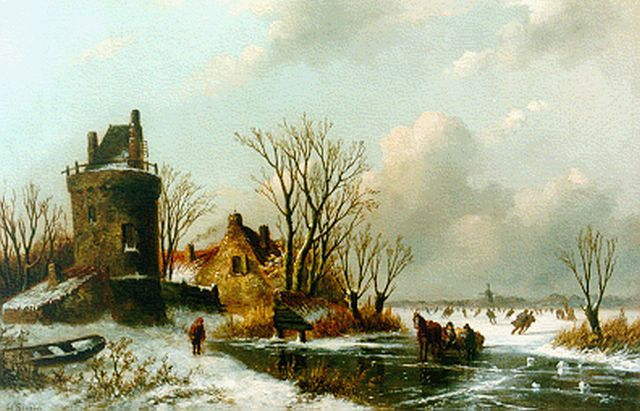 Louis Sierich | A winter landscape with skaters on the ice, oil on panel, 24.7 x 38.5 cm, signed l.l.