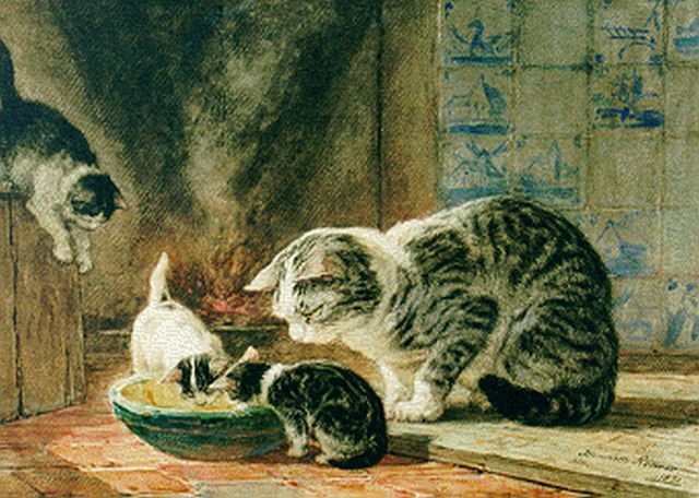 Henriette Ronner-Knip | Mother's care, watercolour on paper laid down on board, 31.0 x 43.9 cm, signed l.r. and dated 1871
