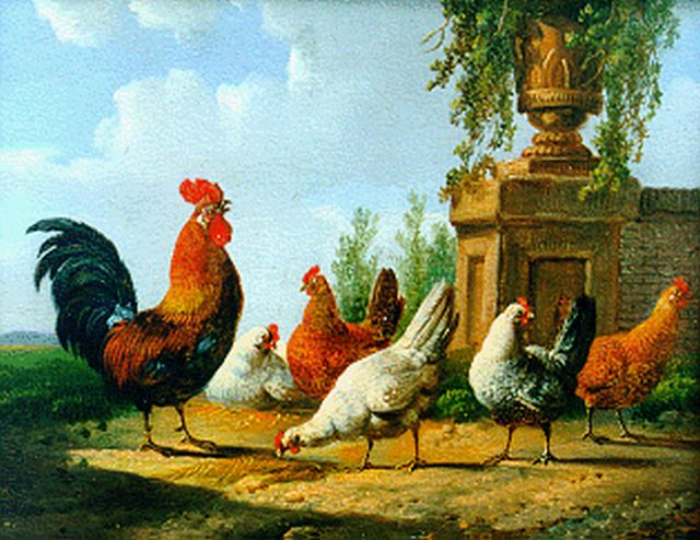 Albertus Verhoesen | A rooster and five chickens, oil on panel (2 pieces), 12.8 x 15.4 cm
